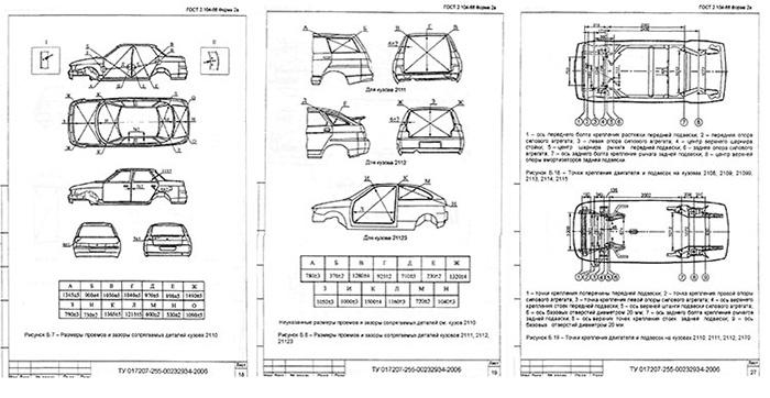 геометрические размеры кузова ваз 2110 богдан